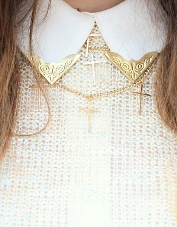 collar clips and matching necklaces. i love the under the collar trend.