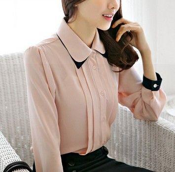 Botón Collar Mujeres Point Otoño de manga larga Up sólido de color rosa / blanco / azul real blusa elegante Camisas Envío Gratis S128-0033