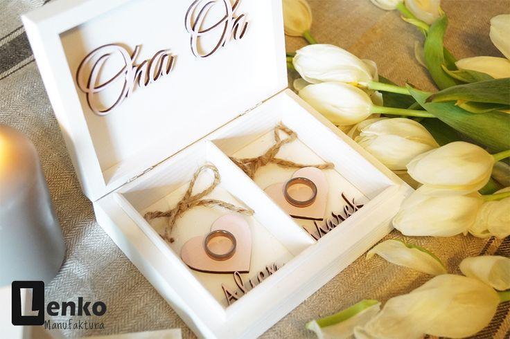 Pudełko szkatułka na obrączki z drewna z inicjałami różowe ptaszki Lenko Manufaktura