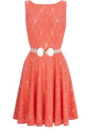 <3: Fashion, Coral Lace Dresses, Style, Color, Bridesmaid Dresses, Coral Orange, Belts Fit, Flare Dresses, Oasis