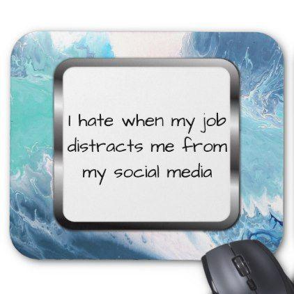 Office Funny Mousepad Social Media Humor Blue Art - individual customized designs custom gift ideas diy