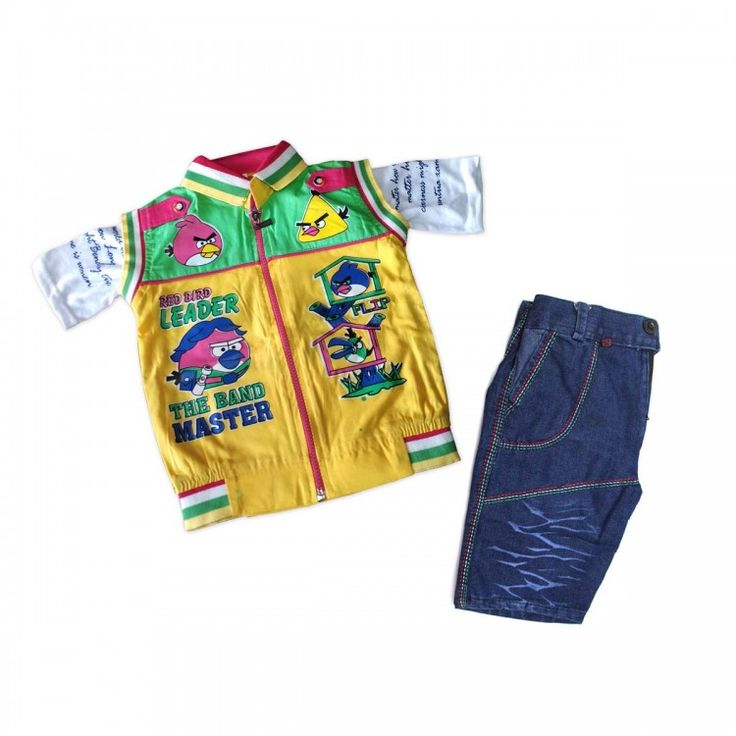 Boys Combo Yellow & Green Color T-shirt with Full Zipper front & Half Pant