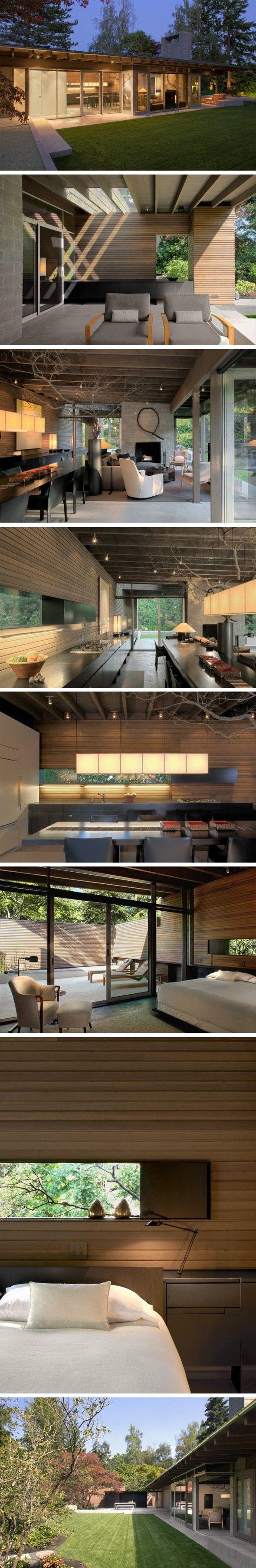 Maison pour couple de retraités à Medina, Washington Sur le plan conceptuel, la maison est inspirée d'un abri de pique nique en pleine forêt, les propriéta