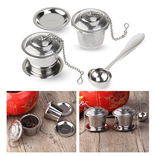 OUNONA Tea Strainer Loose Tea Infuser 304 Stainless Steel Tea Steeper (Set of 2) with Tea Scoop and Drip Trays