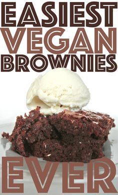 Rich vegan brownies with simple ingredients- sub flour for paleo option  #simple #vegan #baking
