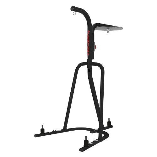 Century Heavy Bag Stand and Speed Bag Platform by Century. $160.99. Dual purpose space saver unit. Heavy bag hangs on one side with the speed bag platform on the other side. Made to be put in any kind of gym environment the Century heavy bag and speed bag platform is built to last.3 inch tubular construction features weight pegs on each leg and extra large frame for stability and a heavy bag tie down at base rounds out the safety features for this great platform. The adjust...