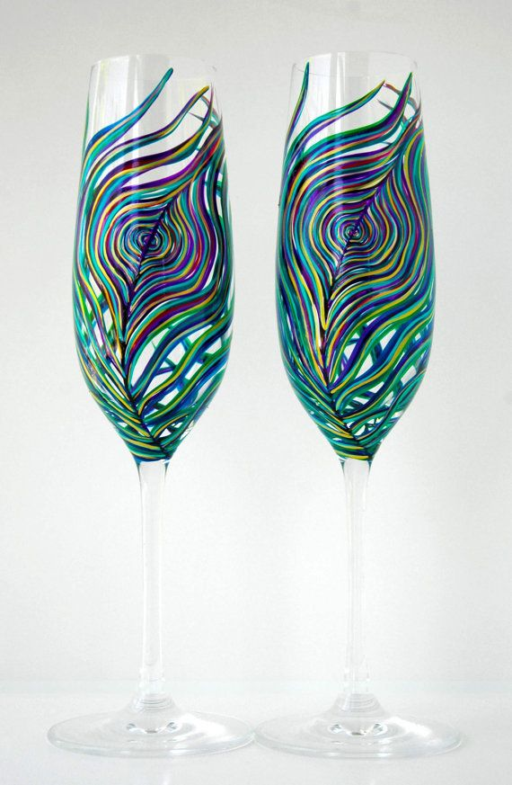 peacock feather wedding champagne flutes - personalized toasting flutes