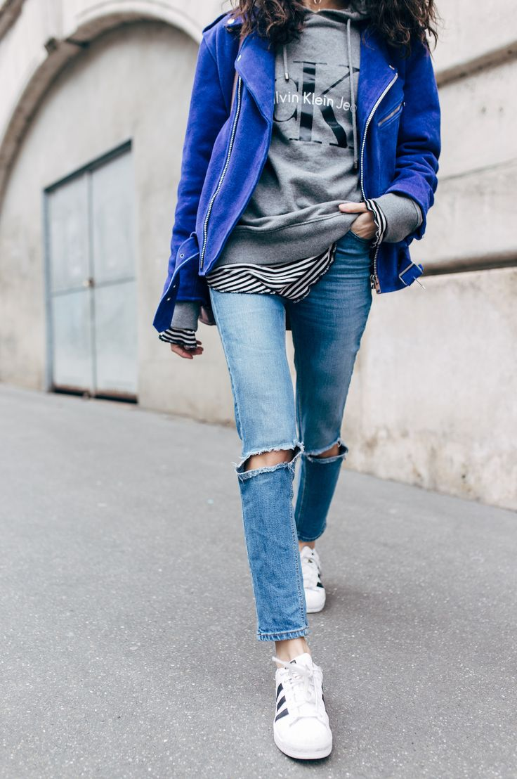 Alex's Closet - Blog mode et voyage - Paris | Montréal: BLUE MOOD | Blue suede jacket + CK sweat + Destroyed jeans + Superstat