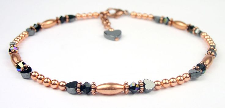 50.00    Copper Anklets with Swarovski Crystals in all 12 Anniversary Month Gemstones