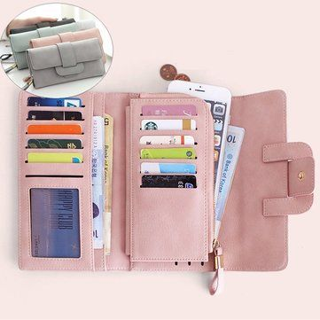 Women's Wallet Long Style Multi-card Slots Three Folding Matte Leather Bag For iPhone 7Plus 6sPlus Sale - Banggood.com