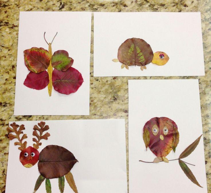Süße Tiere gestalten aus verschiedenen Herbstblättern