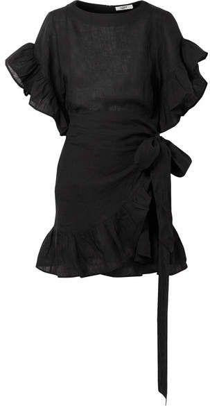 7945583705 Isabel Marant Étoile - Delicia Ruffled Linen Mini Dress - Black ...