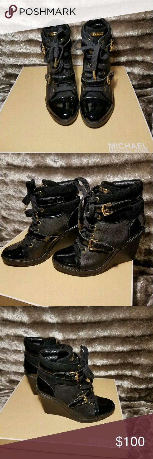 Michael Kors Skid Sneaker Wedge (size 7) Black patent leather and suede. Never worn outside, only tried on once in store. Michael Kors Shoes Sneakers