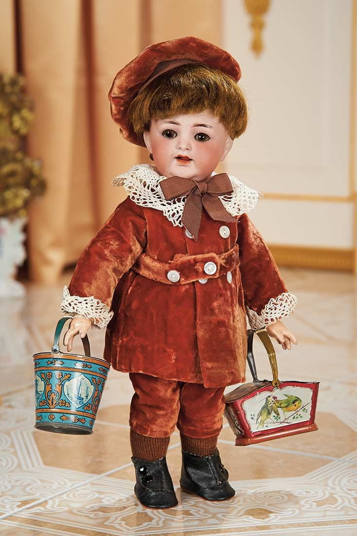 View Catalog Item - Theriault's Antique Doll Auctions German Bisque Toddler,126,by Kammer and Reinhardt with Lithographed Tin Buckets