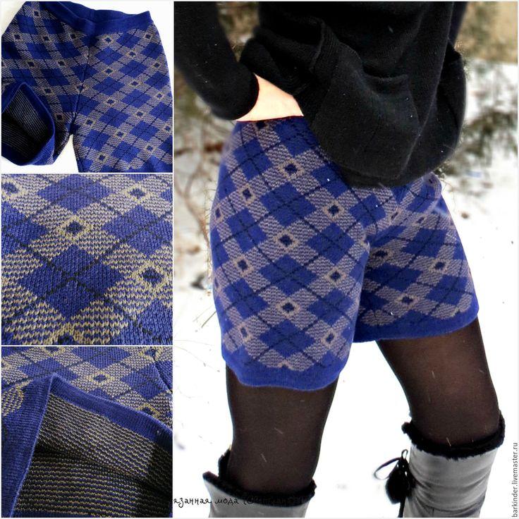 """Купить Вязаные шортики """"Шотландская клетка"""" - шорты, вязаные шорты, вязание на заказ, вязание для женщин"""