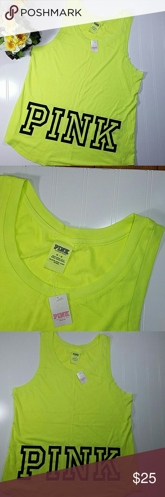 ✳ Victoria Secret Pink tank top Neon yellow racer back tank top, longer style, the word PINK on the front and back. Cotton/modal. NWT. Sz medium PINK Victoria's Secret Tops Tank Tops