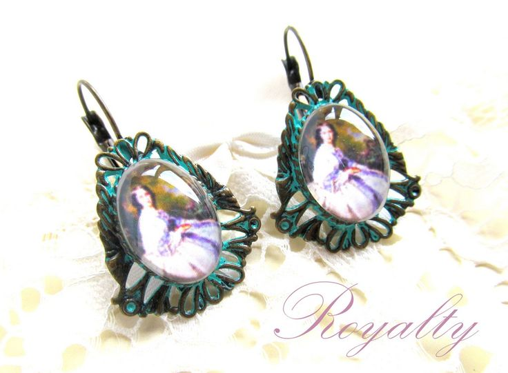 Verdigris cameo earrings Cercei Royalty (38 LEI la afterforever.breslo.ro)