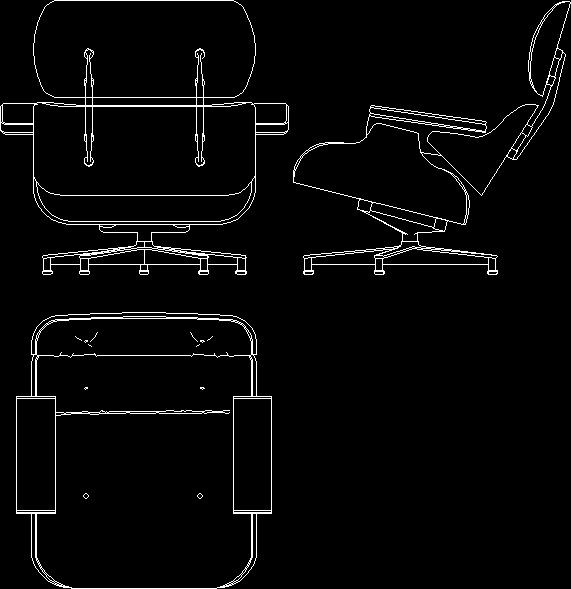 Charles eames lounge chair 1956 dwgautocad drawing for Chaise lounge cad block