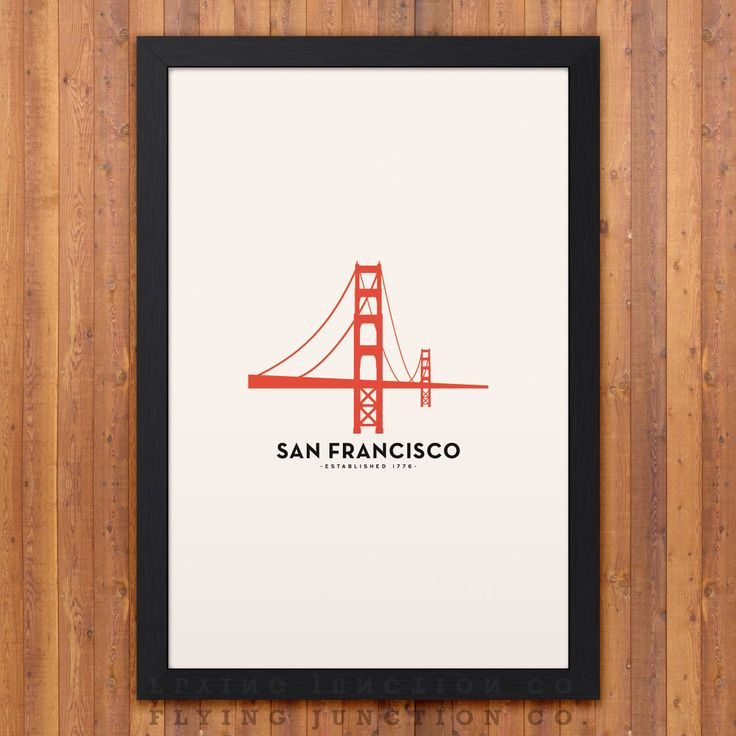 A simple and beautiful way to represent the city of San Francisco, this minimalist city poster features the iconic Golden Gate Bridge and the date San Francisco was established. Professionally pressed