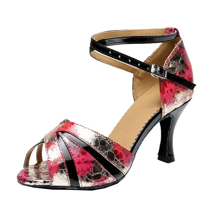 TDA Women's Comfort Flared Heel Peep Toe Flower Red Synthetic Salsa Tango  Ballroom Latin Modern Dance Wedding Shoes 10 M US (*Partner Link)