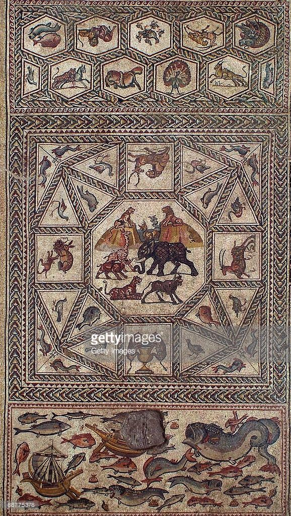 This handout photo made available by the Israeli Antiquities Authority (IAA) shows an aerial view of the main section of an ancient Roman mosaic which was revealed some 13 years after it was first discovered in the ruins of a 4th century AD building, on July 1, 2009 in Lod in central Israel. The beautiful 1,700 year old mosaic floor, which is regarded as one of the most magnificent and largest ever revealed in Israel, was first uncovered in 1996 during a project to upgrade the city's sewage…