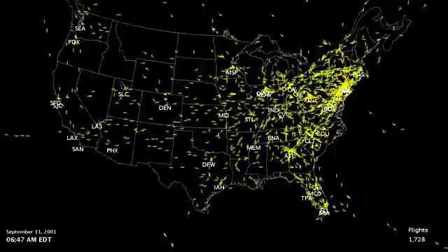 September FAA Closure Of US Airspace The Ojays - Faa map of us after 9 11