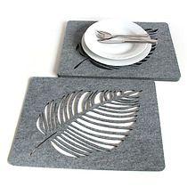 Filcowe liście pod talerze, szare, 4s 30x40, dodatki - kuchnia - obrusy i podkładki