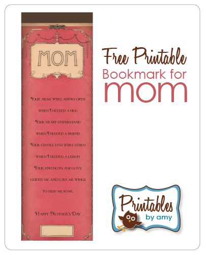 DIY : Free Printable Bookmark for Mom: Girls Gifts Ideas, Crafts Ideas, Mothersday, Crafts Projects, Mom Free, Free Printable Bookmarks, Diy Gifts, Mothers Day Cards, Printable Mothers