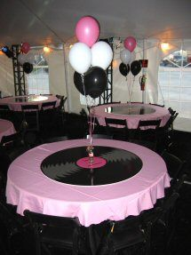 Sock hop sock hop pinterest balloon weights centre for Vinyl record decoration ideas