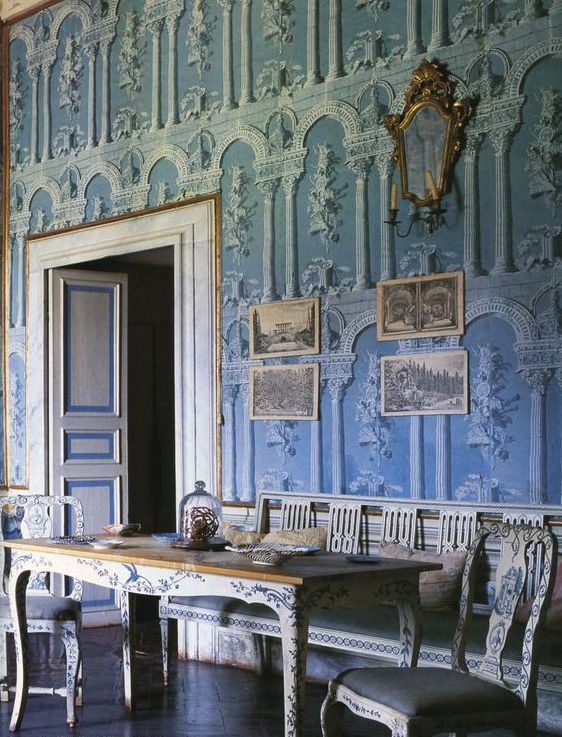 Double Height Blue Vintage Dining Room Design