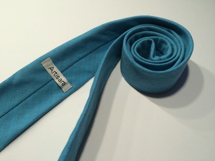 Turquise denim tie for women or men. Great for various dress codes.