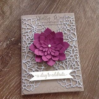 Cardstock - tip top taupe, smoky slate, rich razzleberry, very vanilla (sentiment strip) Ink - tip top taupe (stamped off first) Framelits - Oh so succulent  Thinlits - So detailed Stamp set - So in love (background flower and sentiment) Punch - Project life corner rounder