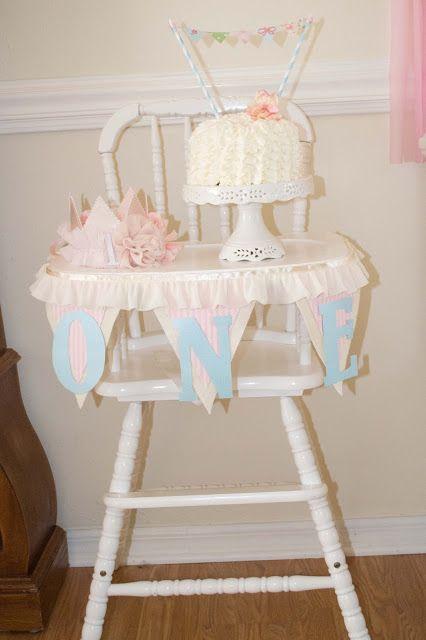 Shabby Chic Birthday Party. Smash cake set-up