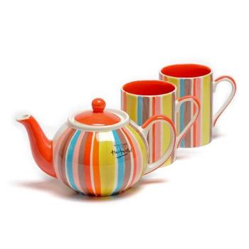 Striped tea pot & cups
