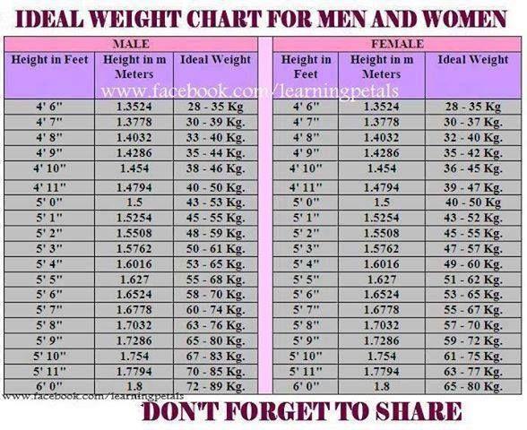 weight chart for men