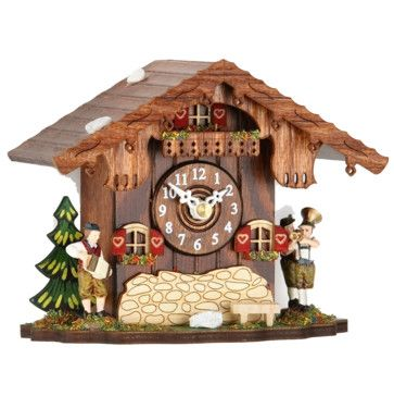 Black Forest Mantel Clock with Hourly Cuckoo Chime - Oompah Band - rustic - Cuckoo Clocks - MyEstuff