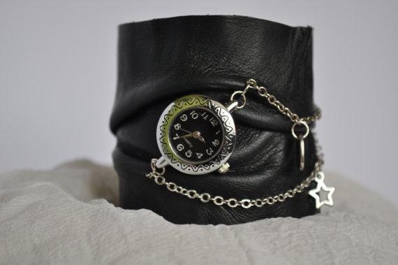 Handmade leather bracelet with watch