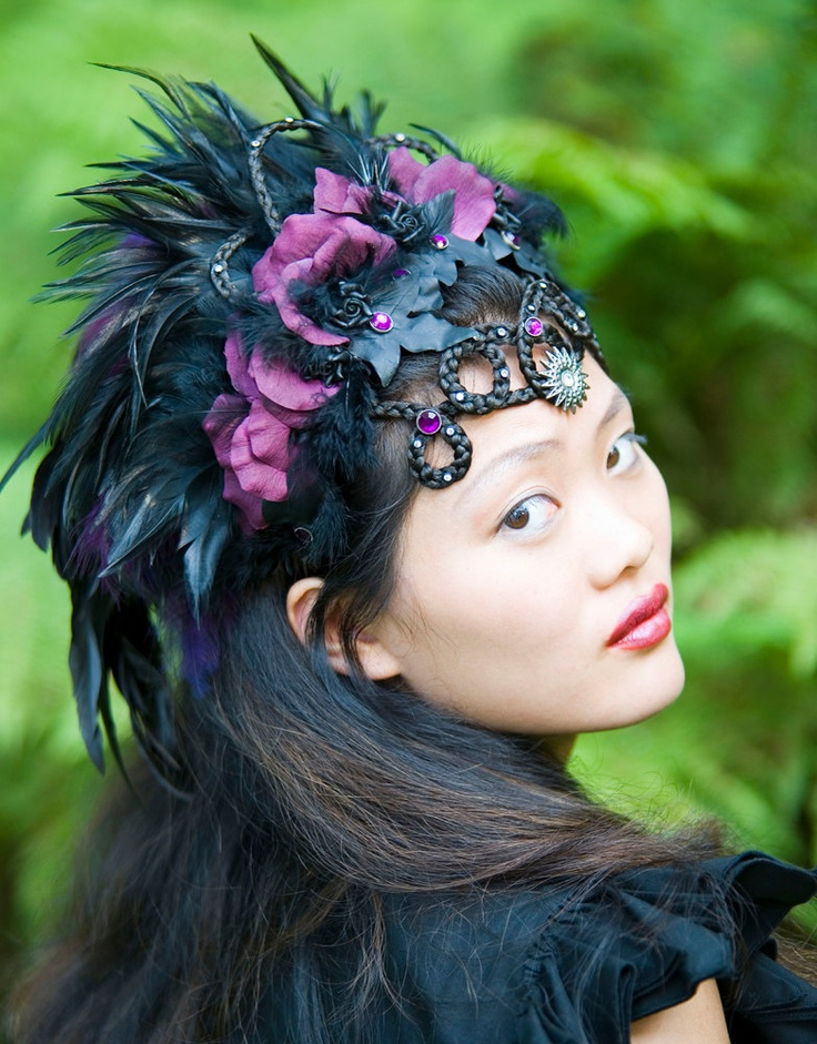 "Couture headpiece ""LADY HAWK"", with braided hairornament,  richly decorated with black and  purple feathers.. €495.00, via Etsy."