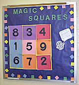 I like that this bulletin board is interactive for students to come up and work on the board, trying to figure out the magic number this way instead of just on worksheets