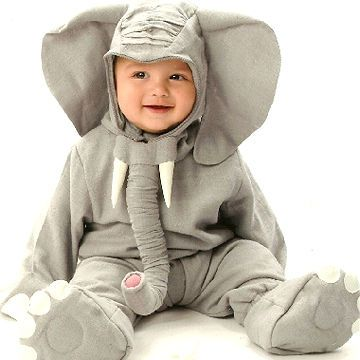 Dress your child in a gray sweat suit to make this cute and cozy costume. Floppy ears, elephant booties, and a long trunk complete the look.                 Submitted by: maggie_cordero