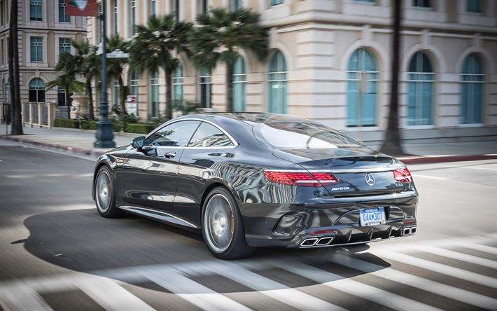 Download wallpapers Mercedes-Benz S-Class Coupe, 2018, luxury coupe, gray S-Class, German cars, Mercedes