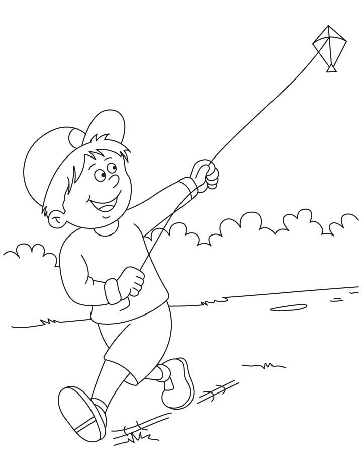 Raju Flying A Kite Coloring Pages Cute Coloring Pages Cartoon