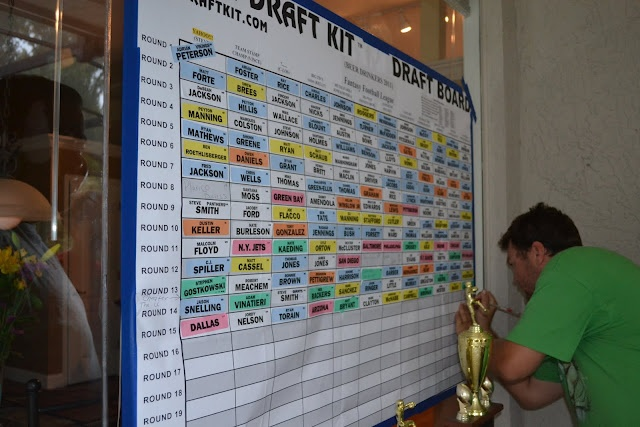 Our Front Door Looking In: Fantasy Football Draft Party - can't forget the draft board!