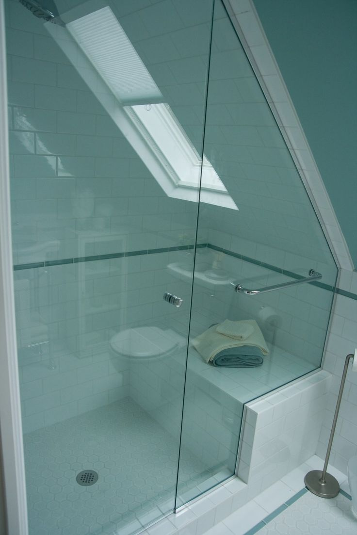 Enchanting Small Bathroom With Sloping Ceiling Glass Door And Luminous ...