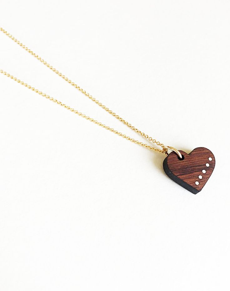wood heart pendant with 14k gold filled chain and accents - 5 golden dots representing 5 years of marriage