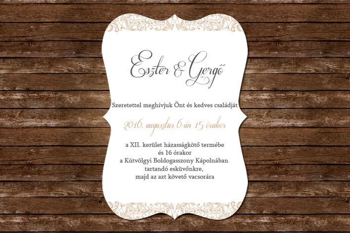 Classic Wedding Invitation, Wedding Invitation, Floral lace Wedding invitation, brown wedding invitation