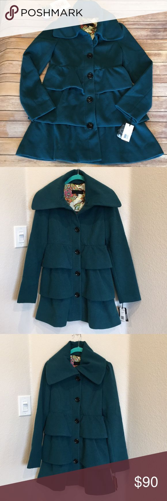"""🦋Steve Madden Ruffled Pea Coat NWT (Ordered online.  No price tag.  Includes extra buttons as well). So feminine and gorgeous!!!  Beautiful """"Teal"""" green per tag.  Please see photos for approximate measurements of item lying flat.    🖤Thanks for stopping by! 🦋M58 Steve Madden Jackets & Coats Pea Coats"""