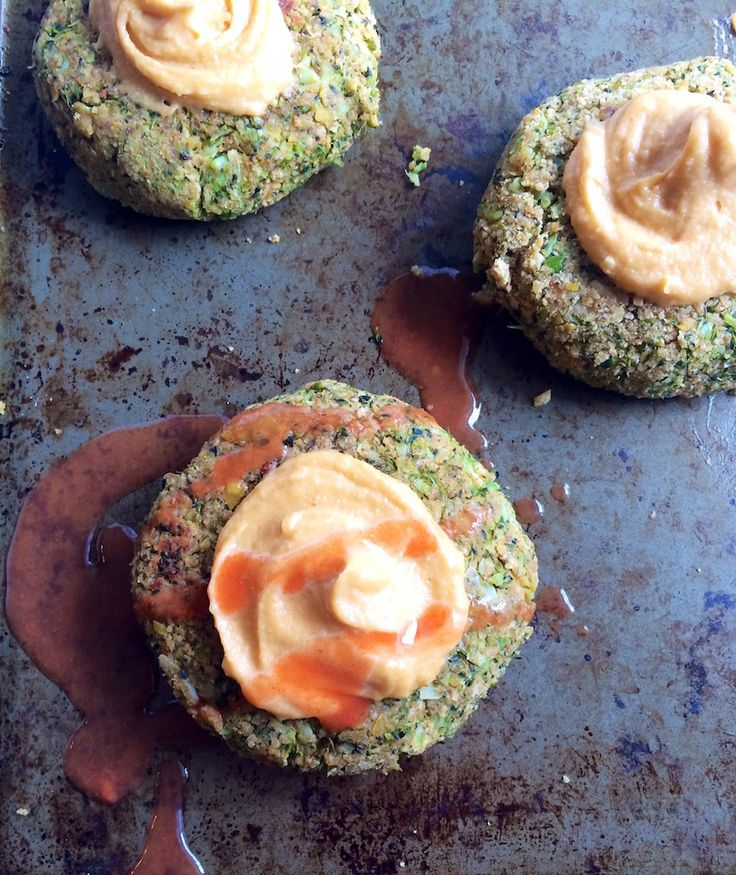 Roasted Broccoli Chickpea Burgers with Spicy Cashew Mayo
