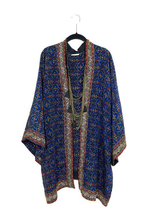 Soie veste Kimono en petite longueur plus courte avec par Bibiluxe