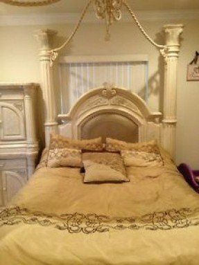Details about monte carlo canopy bedroom set silver snow